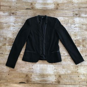 Mossimo Faux Leather Trim Open Front Blazer